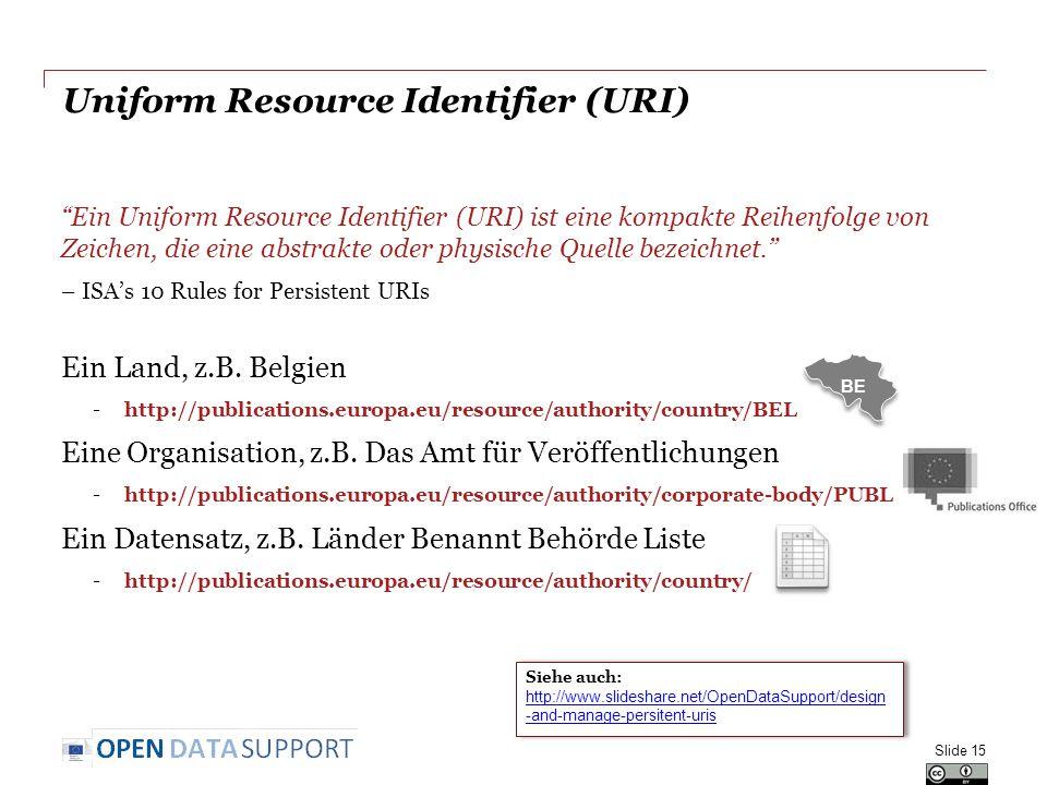 Uniform Resource Identifier (URI) Ein Uniform Resource Identifier (URI) ist eine kompakte Reihenfolge von Zeichen, die eine abstrakte oder physische Quelle bezeichnet. – ISA's 10 Rules for Persistent URIs Ein Land, z.B.