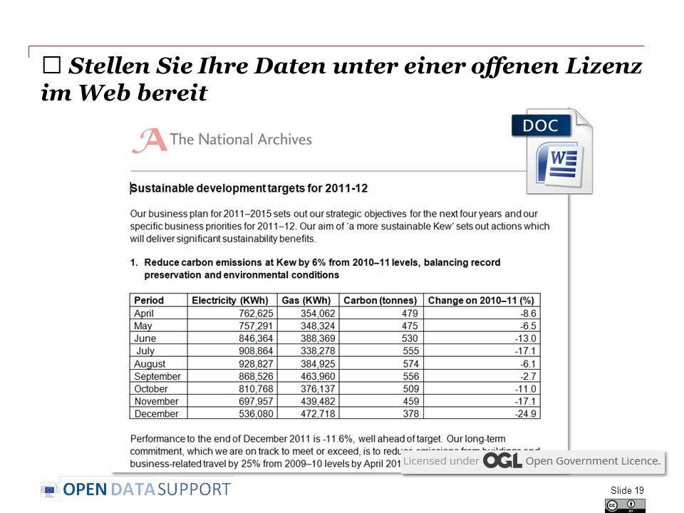 ★ Stellen Sie Ihre Daten unter einer offenen Lizenz im Web bereit Slide 19