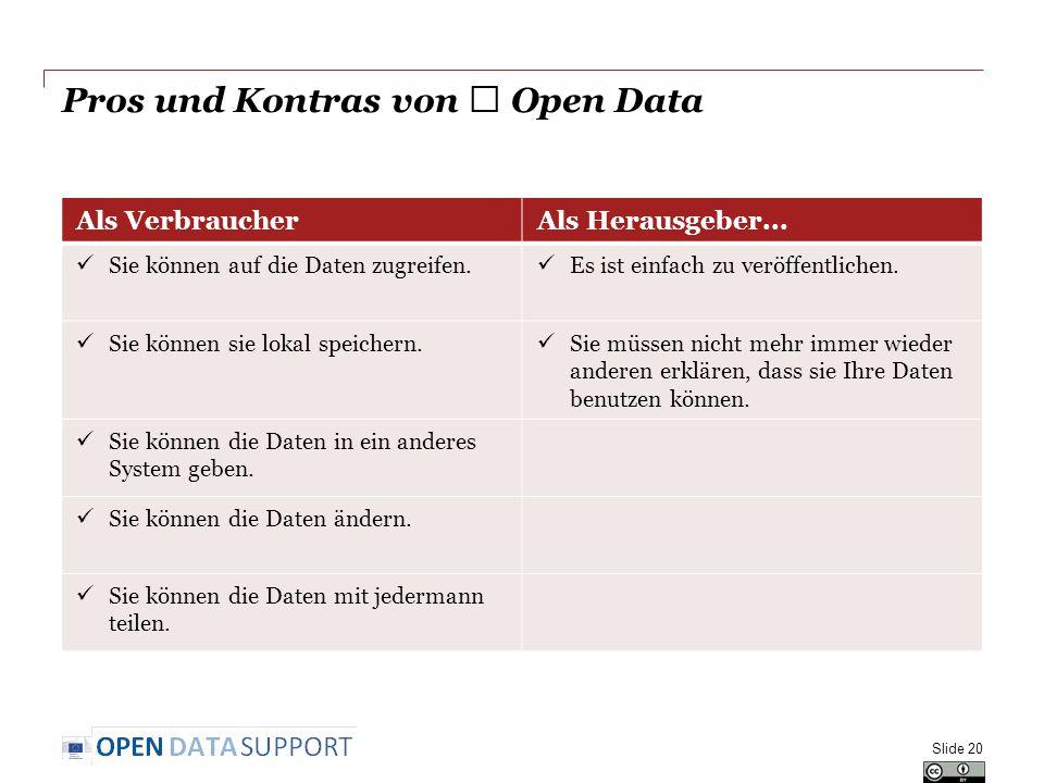Pros und Kontras von ★ Open Data Slide 20 Als VerbraucherAls Herausgeber... Sie können auf die Daten zugreifen. Es ist einfach zu veröffentlichen. Sie