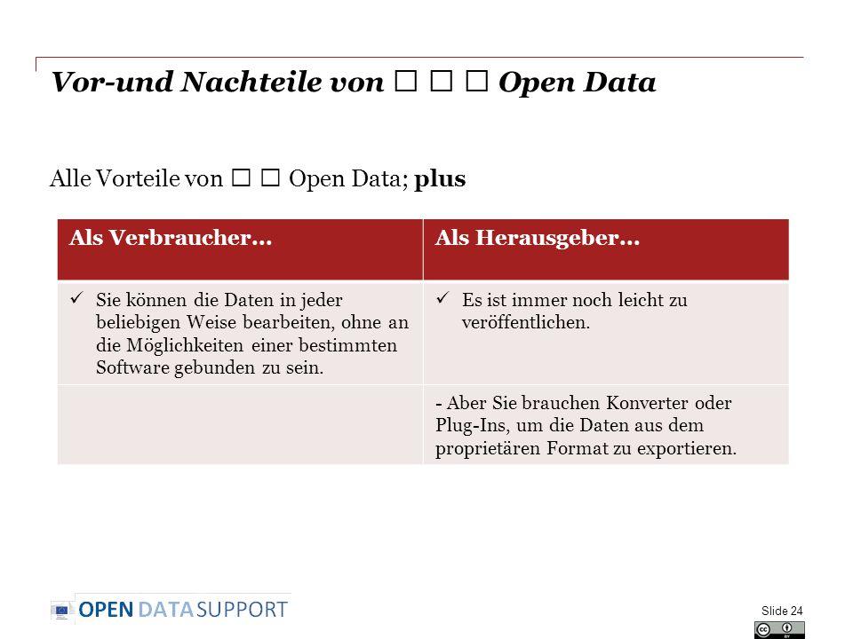 Vor-und Nachteile von ★ ★ ★ Open Data Alle Vorteile von ★ ★ Open Data; plus Slide 24 Als Verbraucher...Als Herausgeber... Sie können die Daten in jede