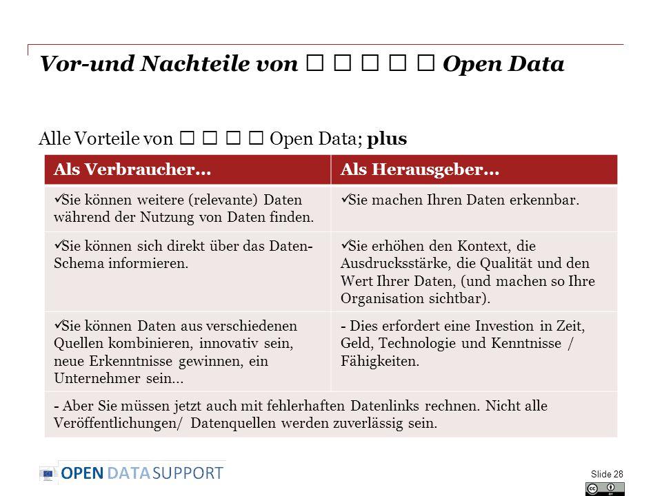 Vor-und Nachteile von ★ ★ ★ ★ ★ Open Data Alle Vorteile von ★ ★ ★ ★ Open Data; plus Slide 28 Als Verbraucher...Als Herausgeber... Sie können weitere (
