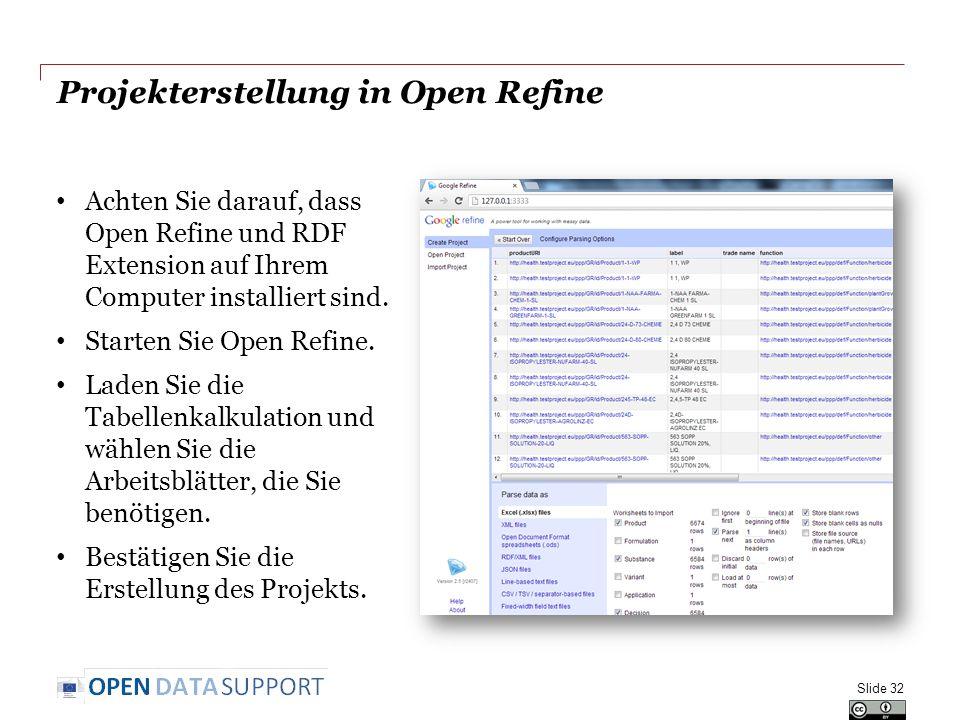 Projekterstellung in Open Refine Achten Sie darauf, dass Open Refine und RDF Extension auf Ihrem Computer installiert sind. Starten Sie Open Refine. L