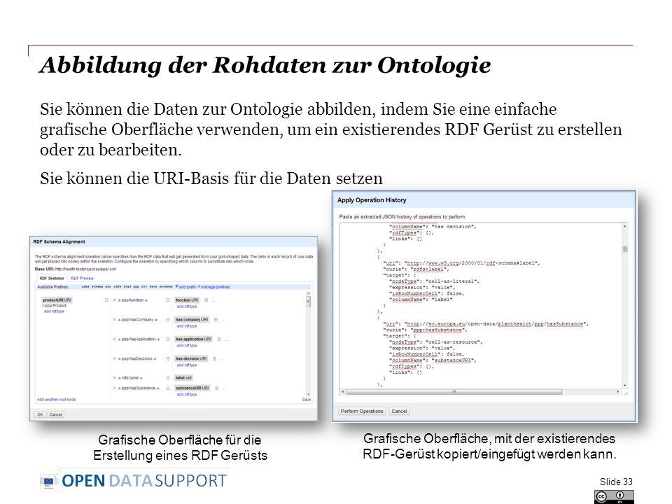 Abbildung der Rohdaten zur Ontologie Sie können die Daten zur Ontologie abbilden, indem Sie eine einfache grafische Oberfläche verwenden, um ein existierendes RDF Gerüst zu erstellen oder zu bearbeiten.