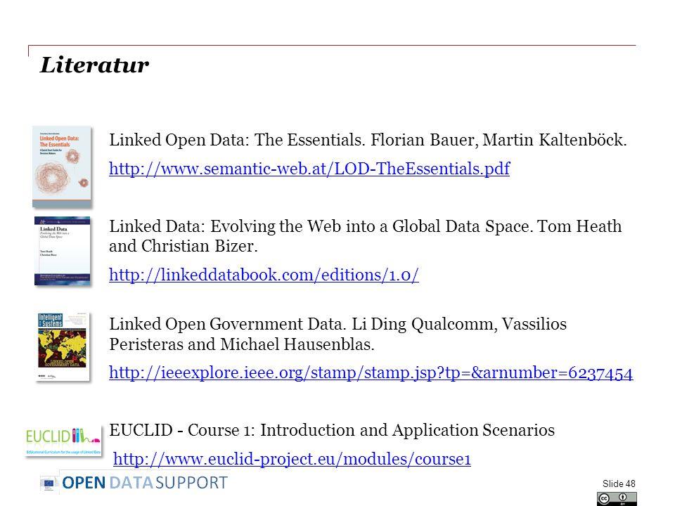 Literatur Linked Open Data: The Essentials. Florian Bauer, Martin Kaltenböck. http://www.semantic-web.at/LOD-TheEssentials.pdf Linked Data: Evolving t