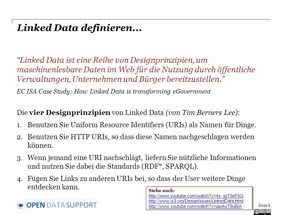 """Linked Data definieren... """"Linked Data ist eine Reihe von Designprinzipien, um maschinenlesbare Daten im Web für die Nutzung durch öffentliche Verwalt"""