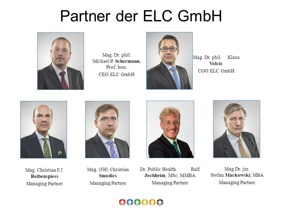 Partner der ELC GmbH Mag. Dr. phil. Michael P. Schermann, Prof. hon. CEO ELC GmbH Mag. Dr. phil. Klaus Volcic COO ELC GmbH Mag. Christian F.J. Reibens