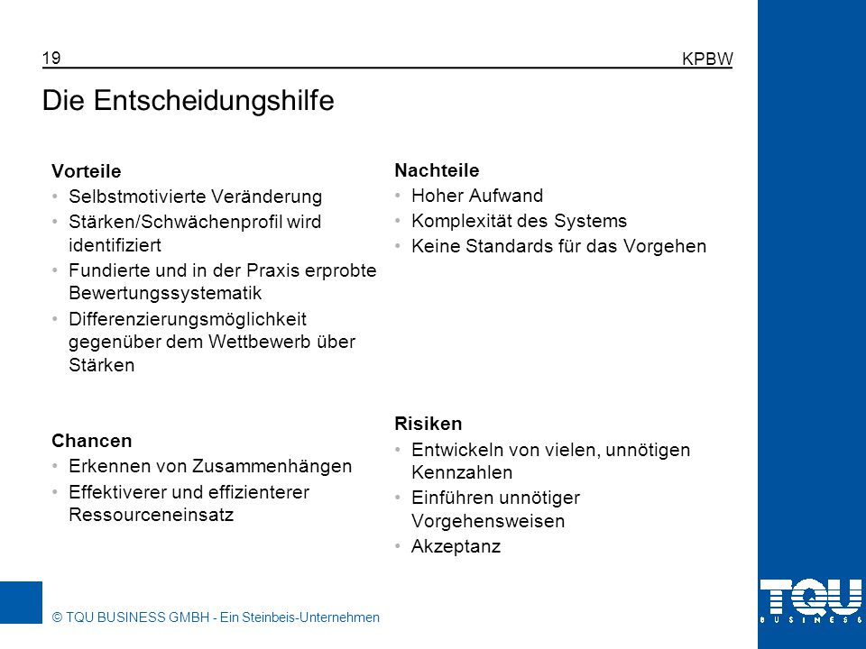 © TQU BUSINESS GMBH - Ein Steinbeis-Unternehmen KPBW 19 Die Entscheidungshilfe Vorteile Selbstmotivierte Veränderung Stärken/Schwächenprofil wird iden