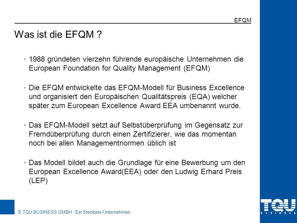 © TQU BUSINESS GMBH - Ein Steinbeis-Unternehmen EFQM 1988 gründeten vierzehn führende europäische Unternehmen die European Foundation for Quality Mana