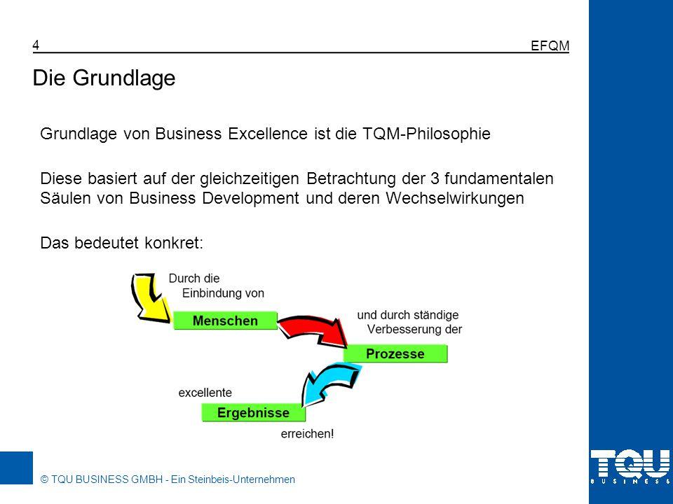 © TQU BUSINESS GMBH - Ein Steinbeis-Unternehmen EFQM 4 Grundlage von Business Excellence ist die TQM-Philosophie Diese basiert auf der gleichzeitigen