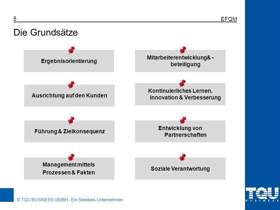 © TQU BUSINESS GMBH - Ein Steinbeis-Unternehmen EFQM 5 Die Grundsätze Ergebnisorientierung Ausrichtung auf den Kunden Führung & Zielkonsequenz Managem