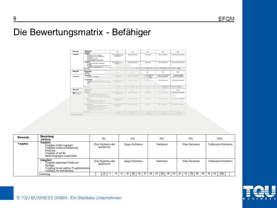 © TQU BUSINESS GMBH - Ein Steinbeis-Unternehmen EFQM 9 Die Bewertungsmatrix - Befähiger