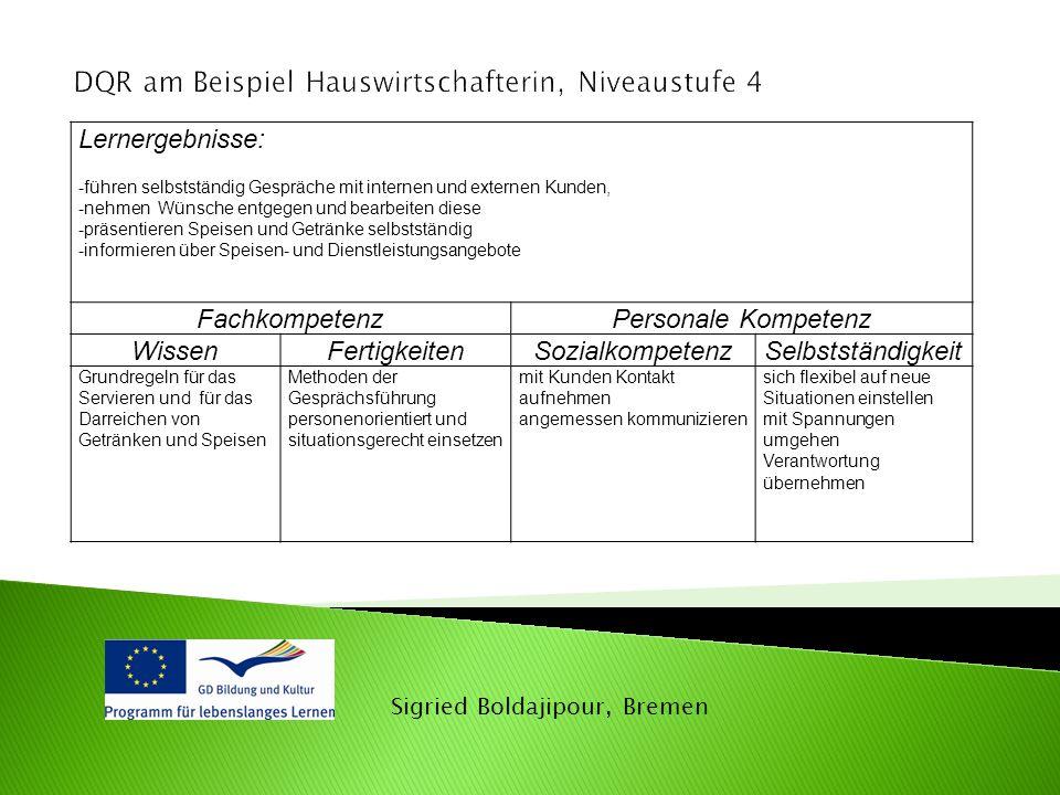 Sigried Boldajipour, Bremen Lernergebnisse: -führen selbstständig Gespräche mit internen und externen Kunden, -nehmen Wünsche entgegen und bearbeiten