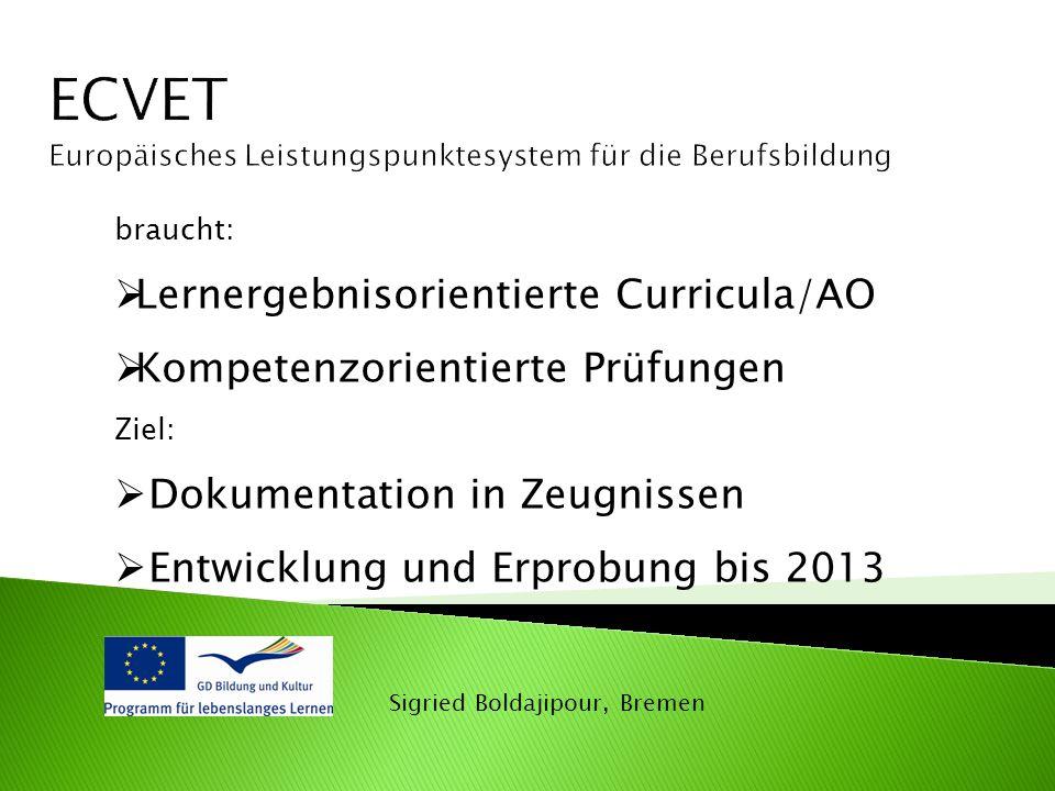 Sigried Boldajipour, Bremen braucht:  Lernergebnisorientierte Curricula/AO  Kompetenzorientierte Prüfungen Ziel:  Dokumentation in Zeugnissen  Entwicklung und Erprobung bis 2013