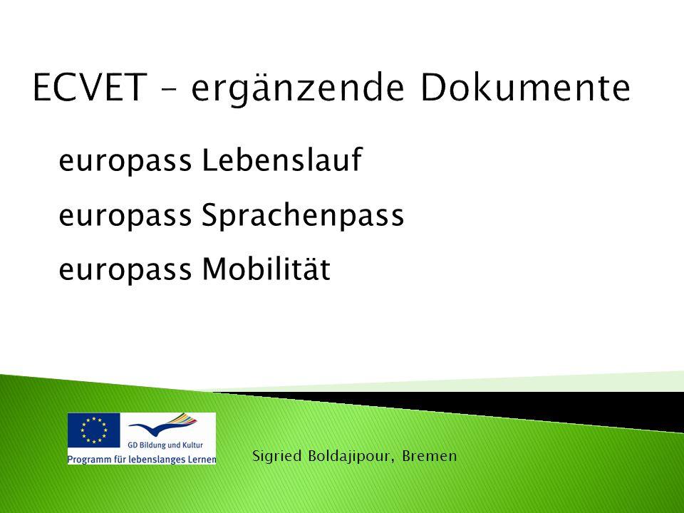 Sigried Boldajipour, Bremen europass Lebenslauf europass Sprachenpass europass Mobilität