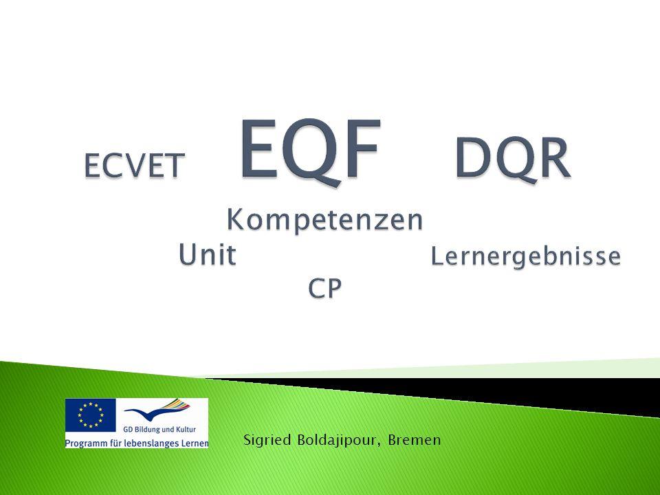 ECVET EQF DQR Kompetenzen Unit Lernergebnisse CP ECVET EQF DQR Kompetenzen Unit Lernergebnisse CP Sigried Boldajipour, Bremen