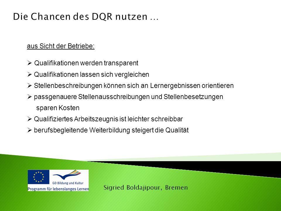 Sigried Boldajipour, Bremen aus Sicht der Betriebe:  Qualifikationen werden transparent  Qualifikationen lassen sich vergleichen  Stellenbeschreibu