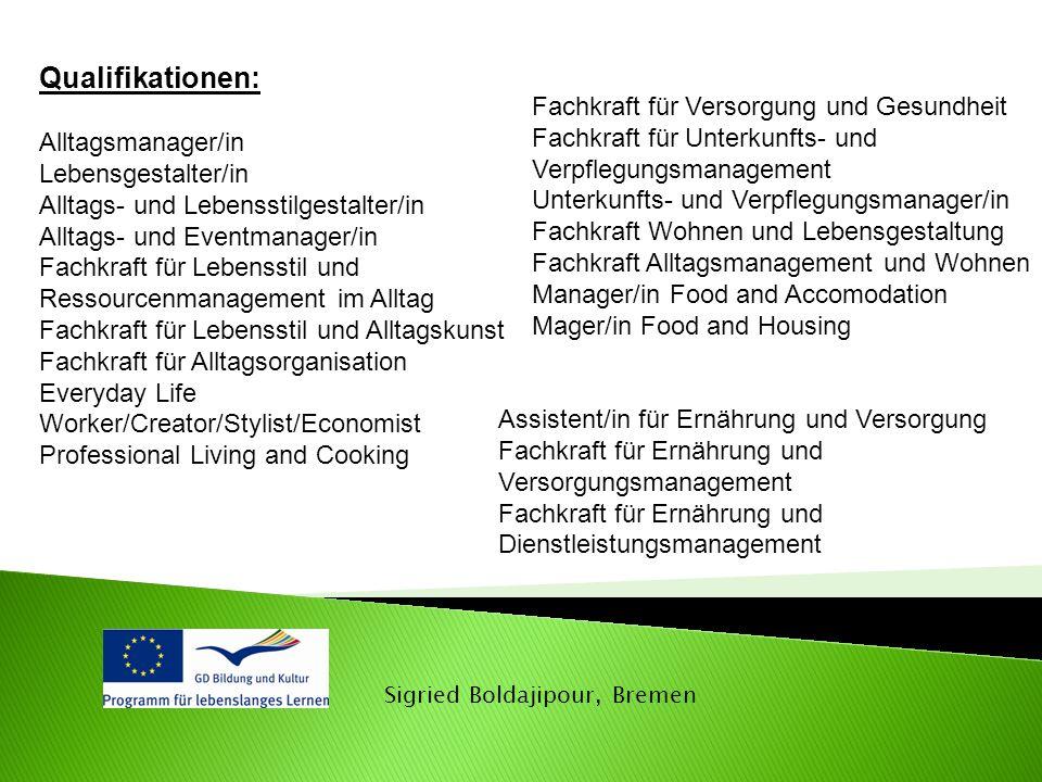 Qualifikationen: Alltagsmanager/in Lebensgestalter/in Alltags- und Lebensstilgestalter/in Alltags- und Eventmanager/in Fachkraft für Lebensstil und Re