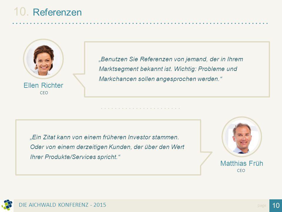 """10 page 10. Referenzen """"Benutzen Sie Referenzen von jemand, der in Ihrem Marktsegment bekannt ist. Wichtig: Probleme und Markchancen sollen angesproch"""