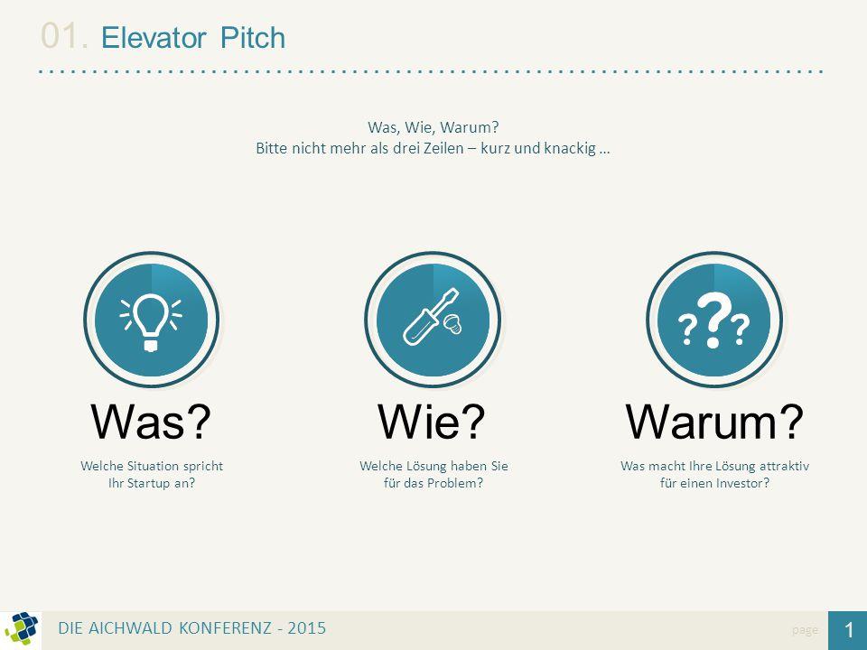 1 01. Elevator Pitch page Was? Welche Situation spricht Ihr Startup an? Wie? Welche Lösung haben Sie für das Problem? Warum? Was macht Ihre Lösung att