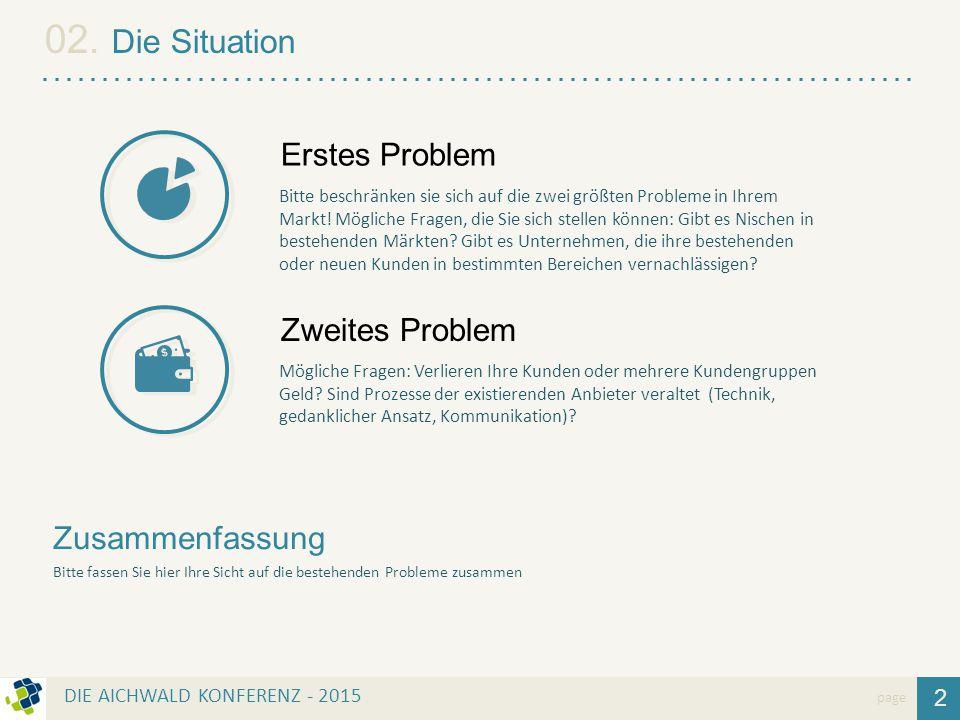 2 02. Die Situation page Zusammenfassung Bitte fassen Sie hier Ihre Sicht auf die bestehenden Probleme zusammen Bitte beschränken sie sich auf die zwe