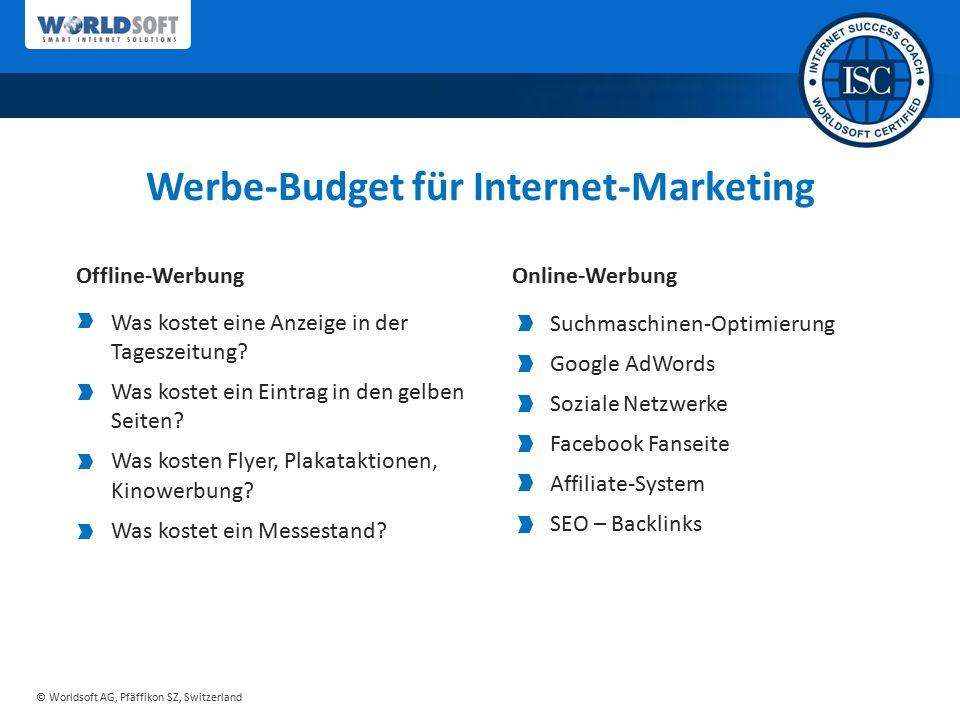 © Worldsoft AG, Pfäffikon SZ, Switzerland Suchmaschinen-Optimierung Google AdWords Soziale Netzwerke Facebook Fanseite Affiliate-System SEO – Backlink