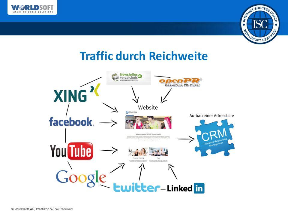 © Worldsoft AG, Pfäffikon SZ, Switzerland Effiziente Vorgehensweise 1.Traffic durch Reichweite 2.Leads generieren (interessantes Angebot) 3.E-Mail-Marketing an eigene Liste Leads generieren und durch E-Mail-Marketing Kunden gewinnen!