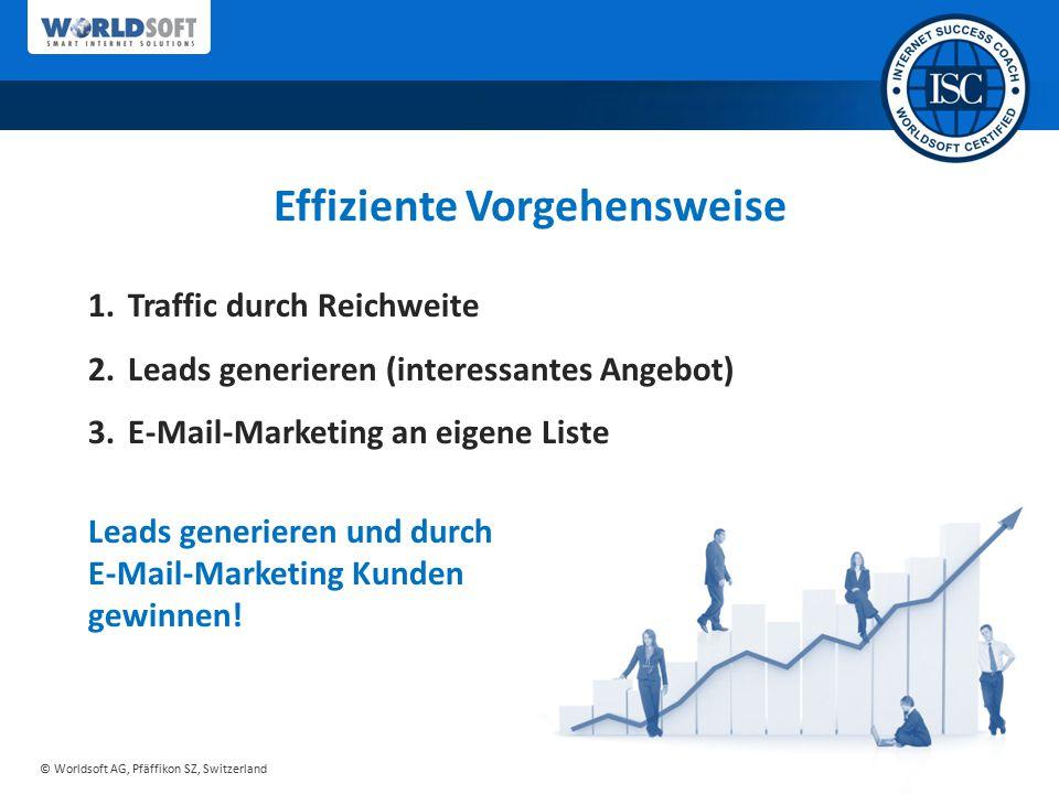 © Worldsoft AG, Pfäffikon SZ, Switzerland Effiziente Vorgehensweise 1.Traffic durch Reichweite 2.Leads generieren (interessantes Angebot) 3.E-Mail-Mar
