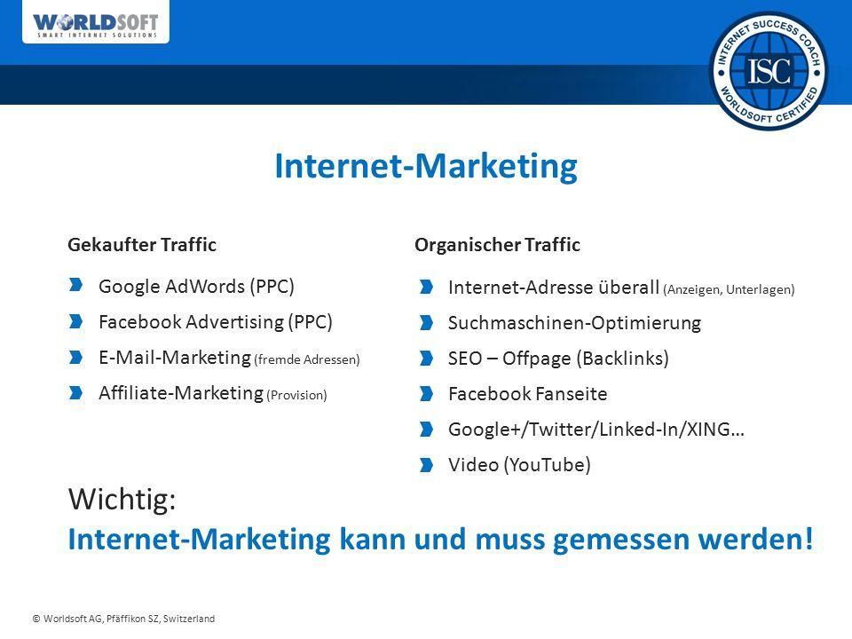 © Worldsoft AG, Pfäffikon SZ, Switzerland Internet-Adresse überall (Anzeigen, Unterlagen) Suchmaschinen-Optimierung SEO – Offpage (Backlinks) Facebook