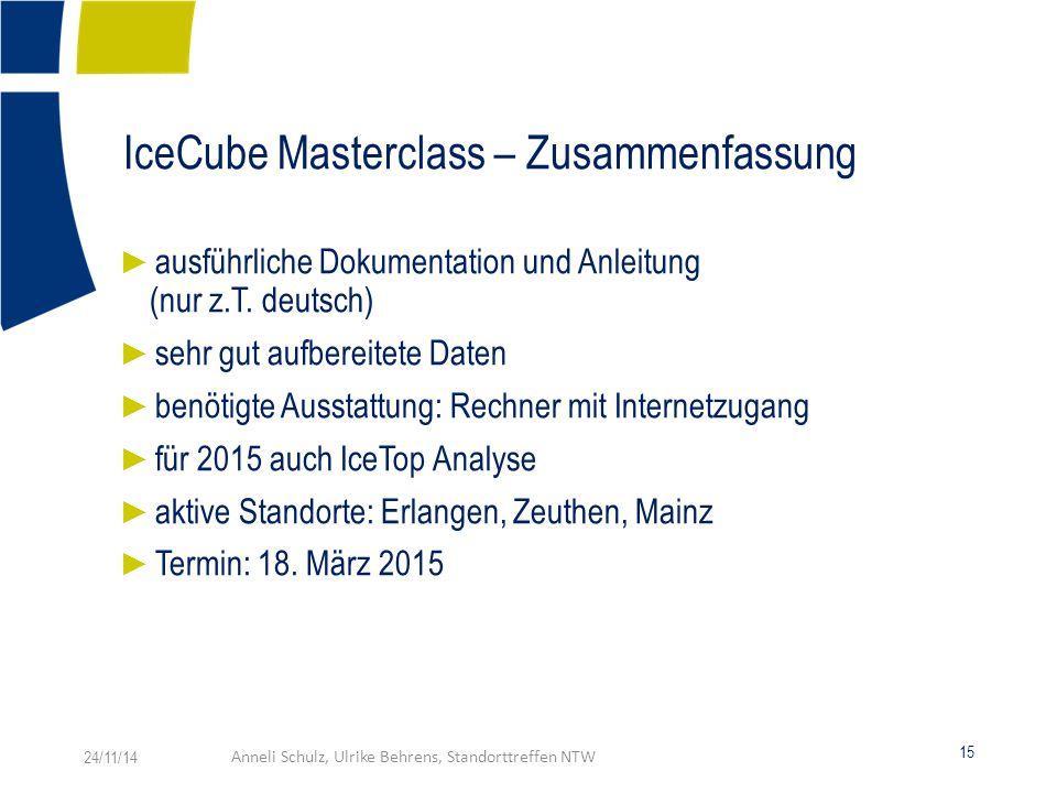 IceCube Masterclass – Zusammenfassung ► ausführliche Dokumentation und Anleitung (nur z.T.