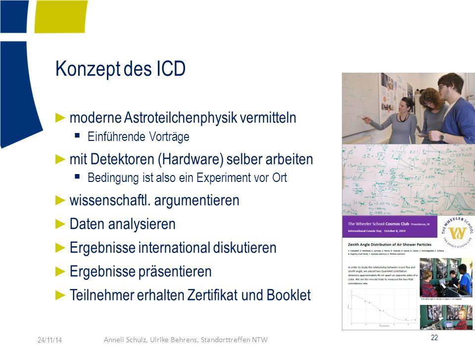 Konzept des ICD ► moderne Astroteilchenphysik vermitteln  Einführende Vorträge ► mit Detektoren (Hardware) selber arbeiten  Bedingung ist also ein Experiment vor Ort ► wissenschaftl.