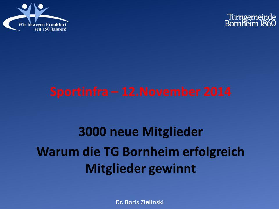 Sportinfra – 12.November 2014 3000 neue Mitglieder Warum die TG Bornheim erfolgreich Mitglieder gewinnt Dr.