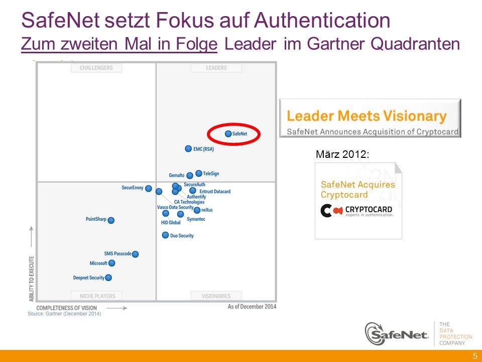5 SafeNet setzt Fokus auf Authentication Zum zweiten Mal in Folge Leader im Gartner Quadranten März 2012:
