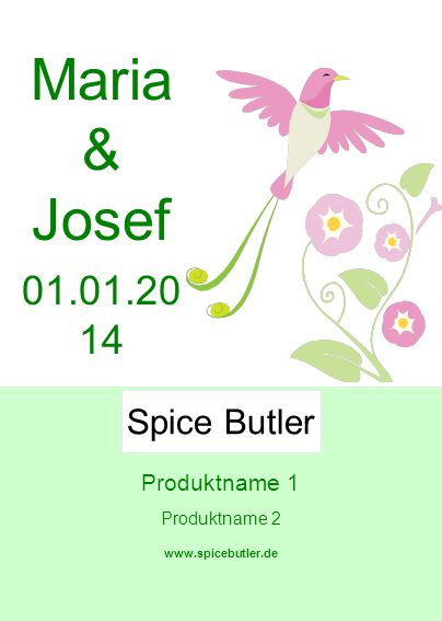 Produktname 1 Produktname 2 www.spicebutler.de Spice Butler Maria & Josef 01.01.20 14