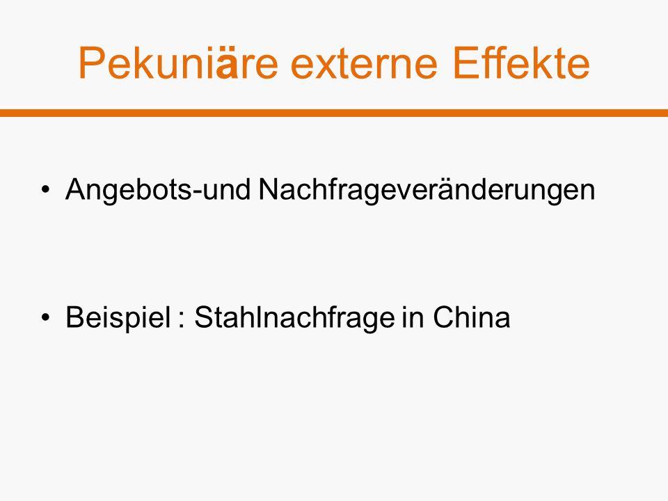 Pekuniäre externe Effekte Angebots-und Nachfrageveränderungen Beispiel : Stahlnachfrage in China