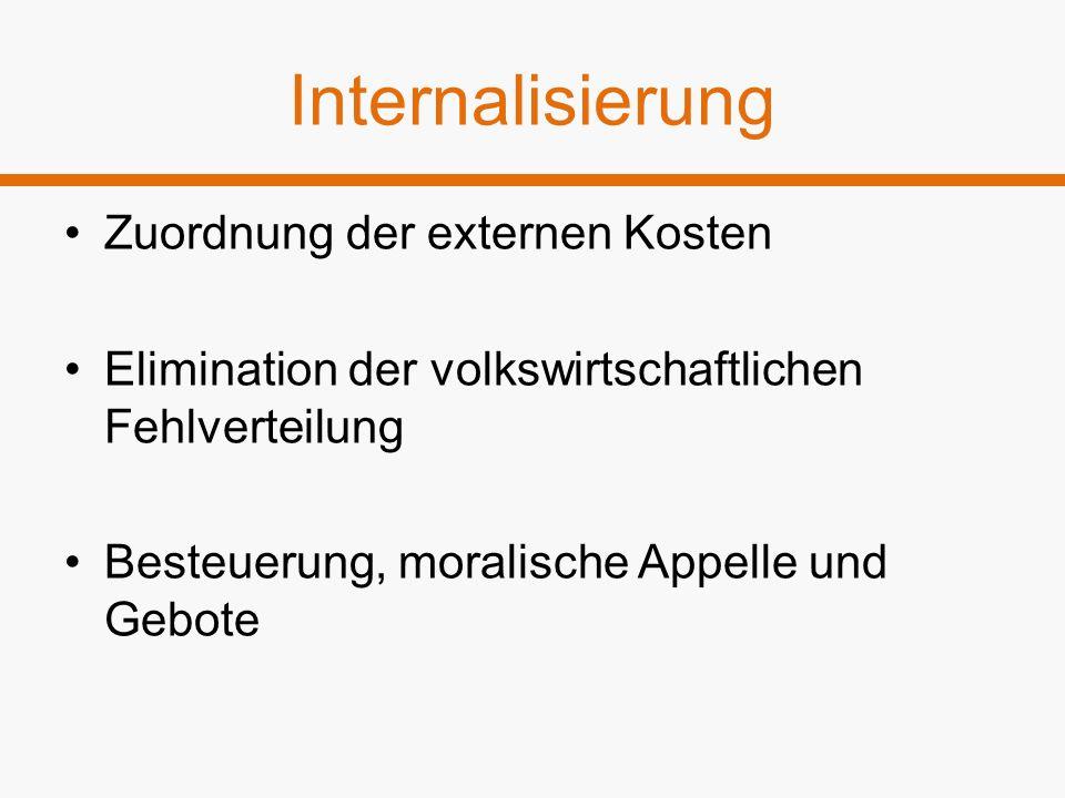 Internalisierung Zuordnung der externen Kosten Elimination der volkswirtschaftlichen Fehlverteilung Besteuerung, moralische Appelle und Gebote