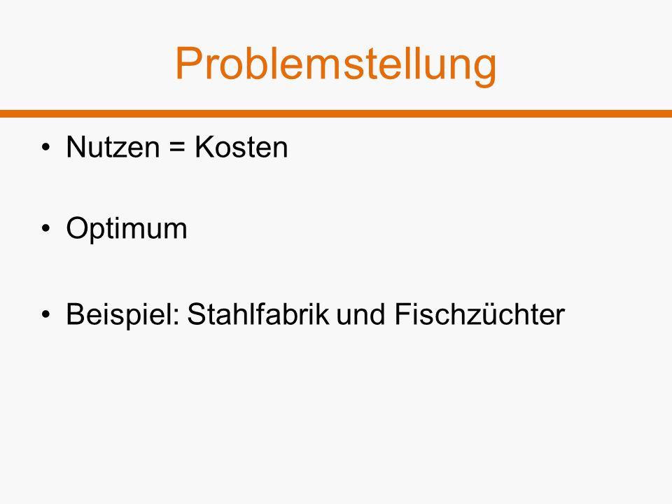 Problemstellung Nutzen = Kosten Optimum Beispiel: Stahlfabrik und Fischzüchter