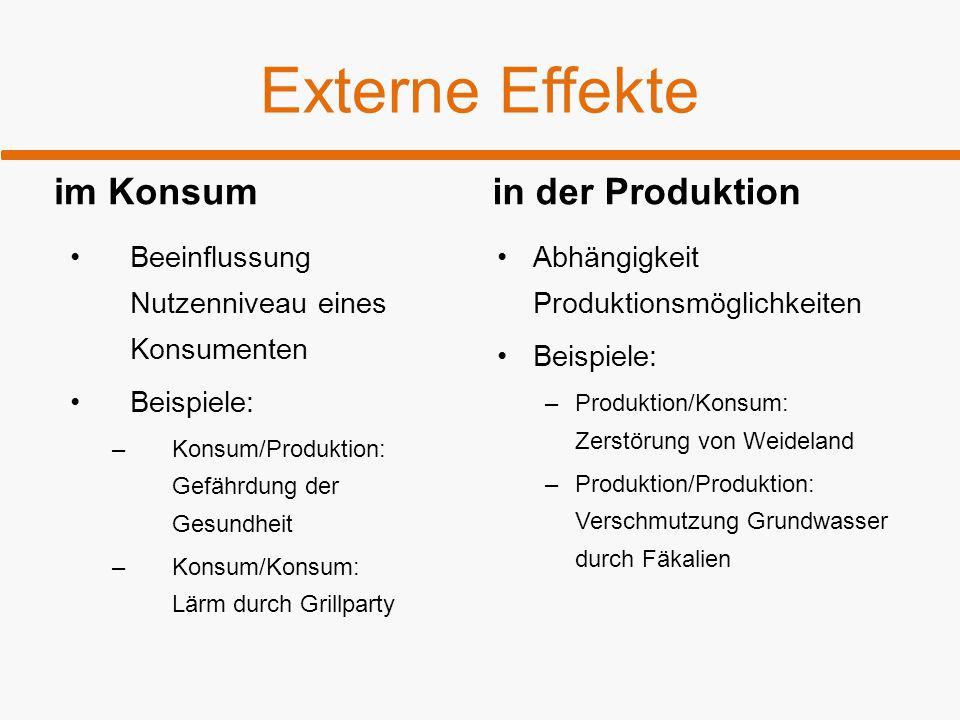 Externe Effekte im Konsum Beeinflussung Nutzenniveau eines Konsumenten Beispiele: –Konsum/Produktion: Gefährdung der Gesundheit –Konsum/Konsum: Lärm d