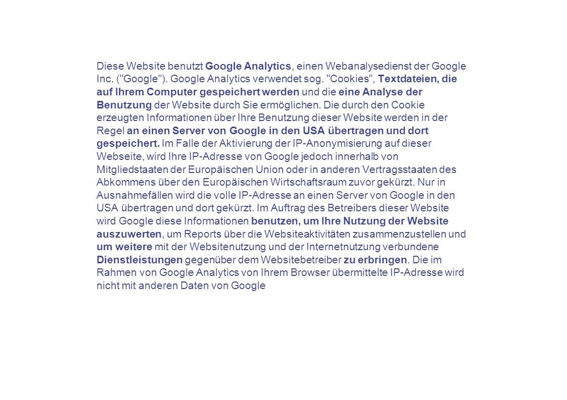 Diese Website benutzt Google Analytics, einen Webanalysedienst der Google Inc.