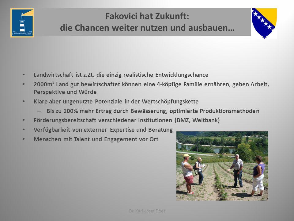 Fakovici hat Zukunft: die Chancen weiter nutzen und ausbauen… Landwirtschaft ist z.Zt.