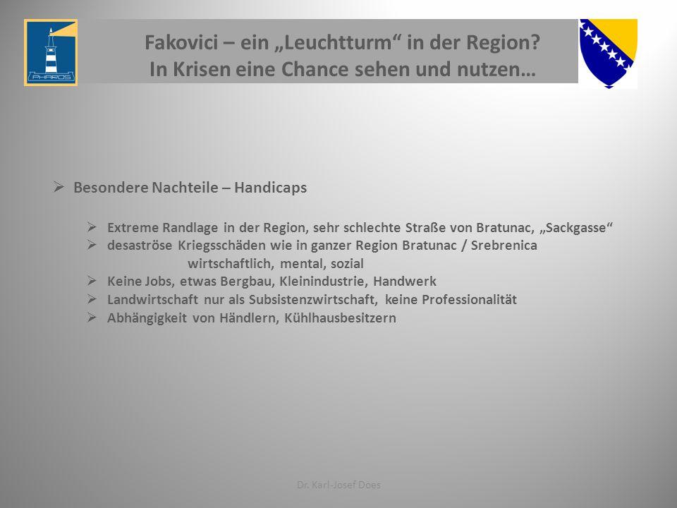 """Fakovici – ein """"Leuchtturm"""" in der Region? In Krisen eine Chance sehen und nutzen… Dr. Karl-Josef Does  Besondere Nachteile – Handicaps  Extreme Ran"""