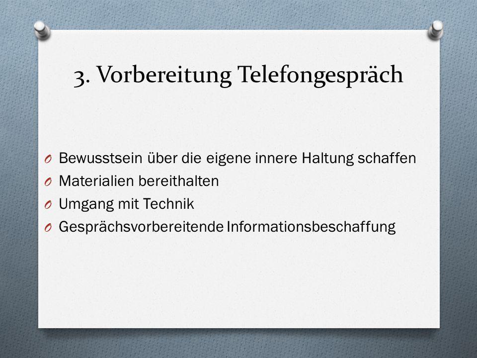 3. Vorbereitung Telefongespräch O Bewusstsein über die eigene innere Haltung schaffen O Materialien bereithalten O Umgang mit Technik O Gesprächsvorbe