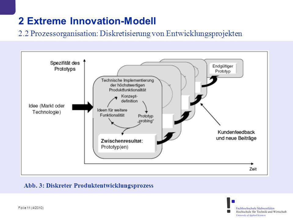 Folie 11 (4/2010) Abb. 3: Diskreter Produktentwicklungsprozess 2 Extreme Innovation-Modell 2.2 Prozessorganisation: Diskretisierung von Entwicklungspr