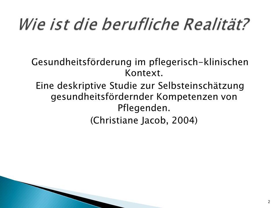  Befragung von examinierten Pflegenden  Rekrutierung der Teilnehmer in mehreren Berliner Kliniken  Erhebungszeitraum Februar-März 1999  412 Fragebögen wurden ausgewertet 3