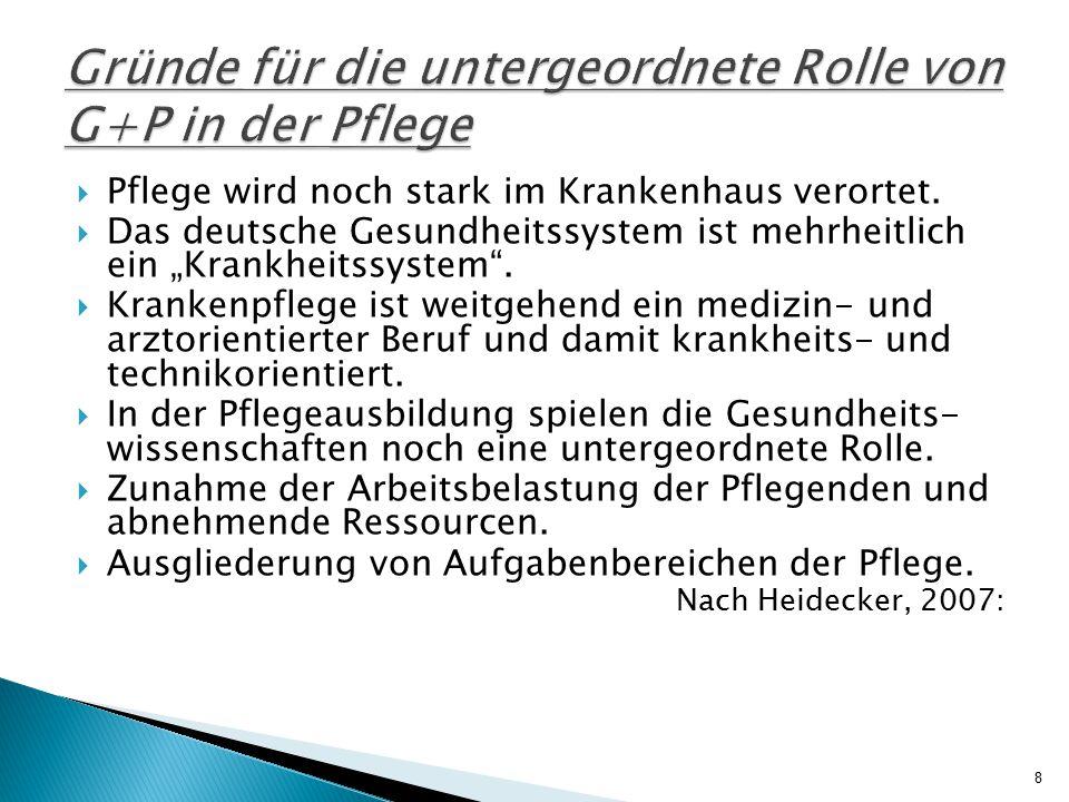 """ Pflege wird noch stark im Krankenhaus verortet.  Das deutsche Gesundheitssystem ist mehrheitlich ein """"Krankheitssystem"""".  Krankenpflege ist weitge"""