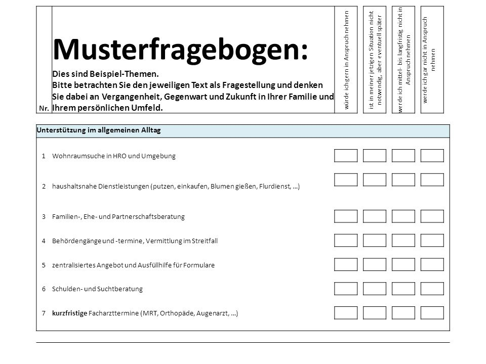 Nr. Musterfragebogen: Dies sind Beispiel-Themen. Bitte betrachten Sie den jeweiligen Text als Fragestellung und denken Sie dabei an Vergangenheit, Geg