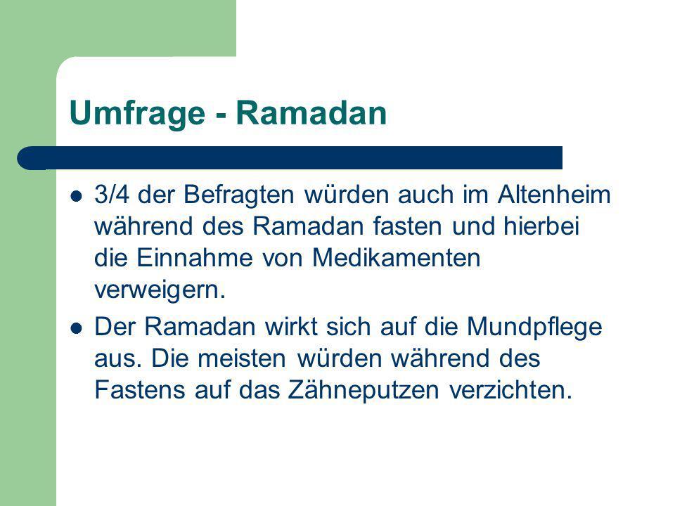 Umfrage - Ramadan 3/4 der Befragten würden auch im Altenheim während des Ramadan fasten und hierbei die Einnahme von Medikamenten verweigern. Der Rama