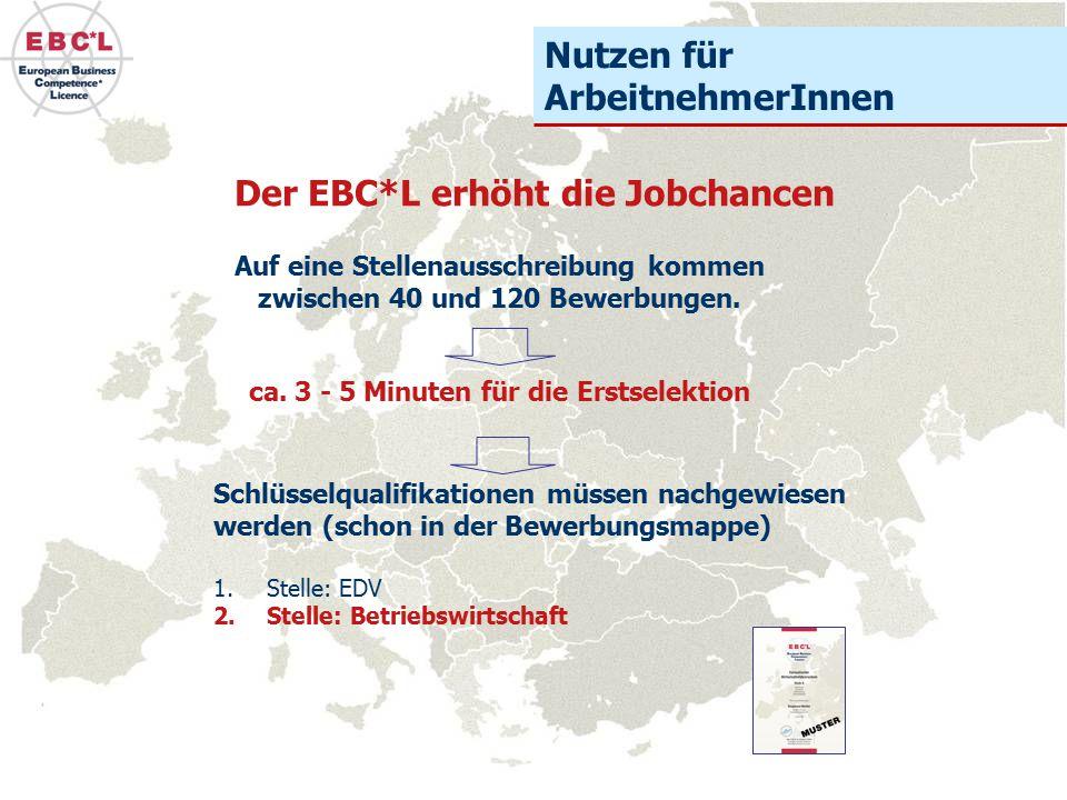 Auf eine Stellenausschreibung kommen zwischen 40 und 120 Bewerbungen. Der EBC*L erhöht die Jobchancen ca. 3 - 5 Minuten für die Erstselektion Schlüsse