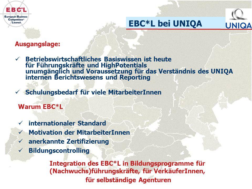 EBC*L bei UNIQA Ausgangslage: Betriebswirtschaftliches Basiswissen ist heute für Führungskräfte und HighPotentials unumgänglich und Voraussetzung für