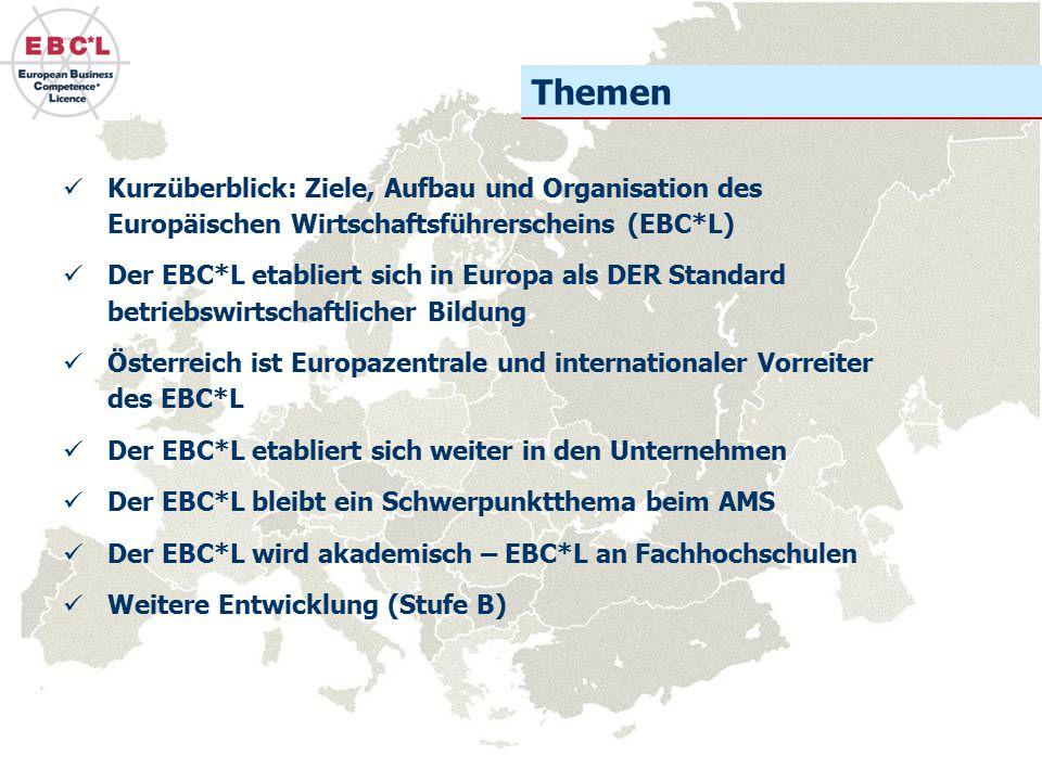 Kurzüberblick: Ziele, Aufbau und Organisation des Europäischen Wirtschaftsführerscheins (EBC*L) Der EBC*L etabliert sich in Europa als DER Standard be