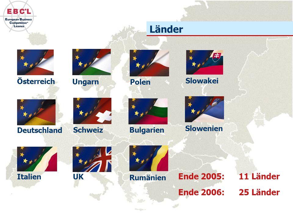 Länder Deutschland Österreich Schweiz Ungarn Polen UKItalien Ende 2005: 11 Länder Ende 2006: 25 Länder Bulgarien Rumänien Slowenien Slowakei